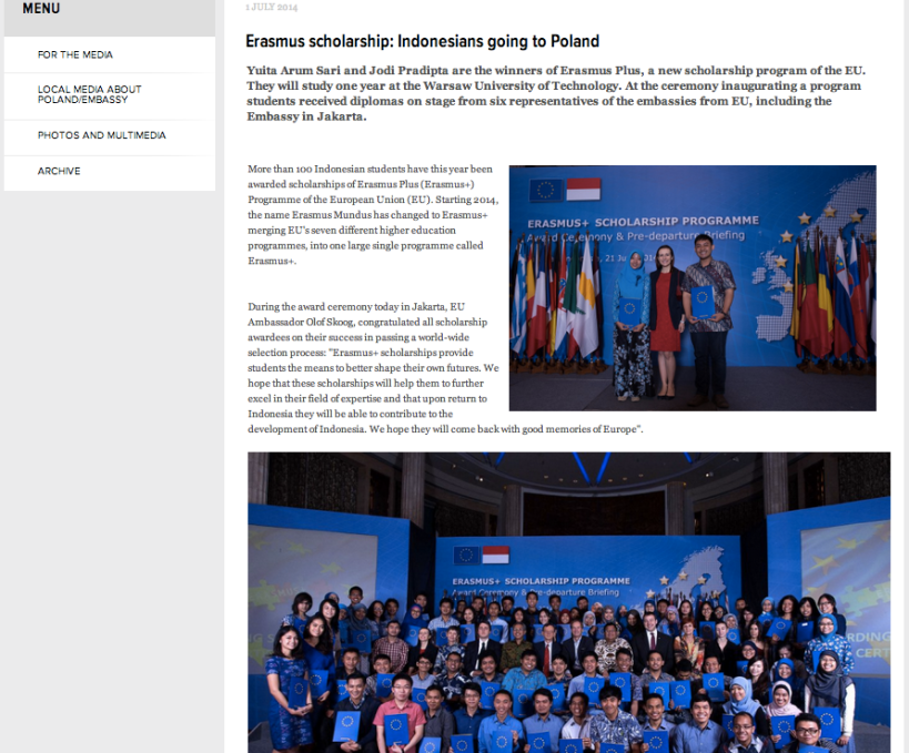 Hot news in the embassy of Poland website, at that time.