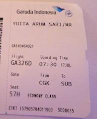 Tiket sementara untuk keberangkatan 17 Juli Jakarta-Surabaya jam 8 pagi